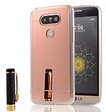 Eiroo Mirror LG G5 Silikon Kenarlı Aynalı Rose Gold Rubber Kılıf
