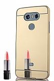 Eiroo Mirror LG G6 Metal Kenarlı Aynalı Gold Rubber Kılıf