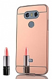 Eiroo Mirror LG G6 Metal Kenarlı Aynalı Rose Gold Rubber Kılıf