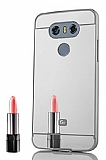 Eiroo Mirror LG G6 Metal Kenarlı Aynalı Silver Rubber Kılıf