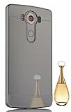 Eiroo Mirror LG V10 Metal Kenarlı Aynalı Siyah Rubber Kılıf