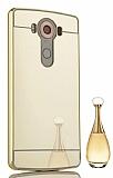 Eiroo Mirror LG V10 Metal Kenarlı Aynalı Gold Rubber Kılıf