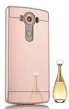 Eiroo Mirror LG V10 Metal Kenarlı Aynalı Rose Gold Rubber Kılıf