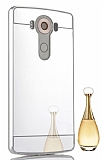Eiroo Mirror LG V10 Metal Kenarlı Aynalı Silver Rubber Kılıf