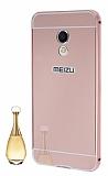 Eiroo Mirror Meizu PRO 6 Metal Kenarlı Aynalı Rose Gold Rubber Kılıf