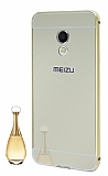 Eiroo Mirror Meizu PRO 6 Metal Kenarlı Aynalı Gold Rubber Kılıf