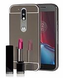 Eiroo Mirror Motorola Moto G4 / G4 Plus Metal Kenarlı Aynalı Siyah Rubber Kılıf