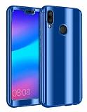 Eiroo Mirror Protect Fit Huawei P20 Lite Aynalı 360 Derece Koruma Lacivert Kılıf