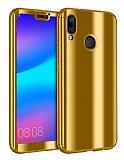Eiroo Mirror Protect Fit Huawei P20 Lite Aynalı 360 Derece Koruma Gold Kılıf
