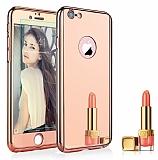 Eiroo Mirror Protect Fit iPhone 6 Plus / 6S Plus Aynalı 360 Derece Koruma Rose Gold Kılıf