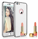 Eiroo Mirror Protect Fit iPhone 6 Plus / 6S Plus Aynalı 360 Derece Koruma Silver Kılıf