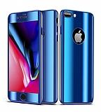 Eiroo Mirror Protect Fit iPhone 7 Plus / 8 Plus Aynalı 360 Derece Koruma Mavi Kılıf