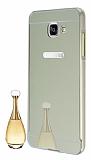 Eiroo Mirror Samsung Galaxy A3 2016 Metal Kenarlı Aynalı Gold Rubber Kılıf