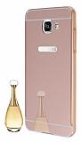 Eiroo Mirror Samsung Galaxy A3 2016 Metal Kenarlı Aynalı Rose Gold Rubber Kılıf
