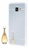 Eiroo Mirror Samsung Galaxy A3 2016 Silikon Kenarl� Aynal� Silver Rubber K�l�f