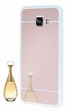 Eiroo Mirror Samsung Galaxy A3 2016 Silikon Kenarlı Aynalı Rose Gold Rubber Kılıf