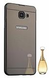 Eiroo Mirror Samsung Galaxy A3 2017 Metal Kenarlı Aynalı Siyah Rubber Kılıf