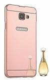 Eiroo Mirror Samsung Galaxy A5 2016 Metal Kenarlı Aynalı Rose Gold Rubber Kılıf
