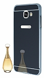 Eiroo Mirror Samsung Galaxy A5 2016 Metal Kenarl� Aynal� Siyah Rubber K�l�f