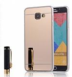 Eiroo Mirror Samsung Galaxy A5 2016 Silikon Kenarlı Aynalı Gold Rubber Kılıf