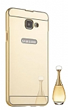 Eiroo Mirror Samsung Galaxy A5 2017 Metal Kenarlı Aynalı Gold Rubber Kılıf