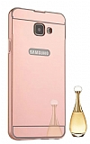 Eiroo Mirror Samsung Galaxy A7 2016 Metal Kenarlı Aynalı Rose Gold Rubber Kılıf