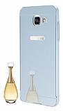 Eiroo Mirror Samsung Galaxy A7 2016 Metal Kenarl� Aynal� Silver Rubber K�l�f