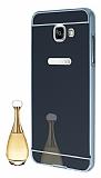 Eiroo Mirror Samsung Galaxy A7 2016 Metal Kenarl� Aynal� Siyah Rubber K�l�f