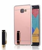 Eiroo Mirror Samsung Galaxy A7 2016 Silikon Kenarlı Aynalı Rose Gold Rubber Kılıf