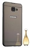 Eiroo Mirror Samsung Galaxy A7 2017 Metal Kenarlı Aynalı Siyah Rubber Kılıf