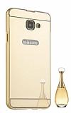 Eiroo Mirror Samsung Galaxy A7 2017 Metal Kenarlı Aynalı Gold Rubber Kılıf