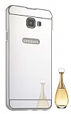 Eiroo Mirror Samsung Galaxy A8 2016 Metal Kenarlı Aynalı Silver Rubber Kılıf
