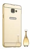 Eiroo Mirror Samsung Galaxy A8 2016 Metal Kenarlı Aynalı Gold Rubber Kılıf