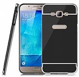 Eiroo Mirror Samsung Galaxy A8 Metal Kenarlı Aynalı Siyah Rubber Kılıf