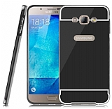 Eiroo Mirror Samsung Galaxy A8 Metal Kenarl� Aynal� Siyah Rubber K�l�f