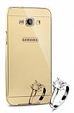 Eiroo Mirror Samsung Galaxy A8 Metal Kenarlı Aynalı Gold Rubber Kılıf