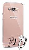 Eiroo Mirror Samsung Galaxy A8 Metal Kenarlı Aynalı Rose Gold Rubber Kılıf