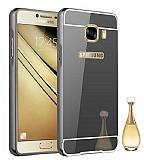 Eiroo Mirror Samsung Galaxy C7 SM-C7000 Metal Kenarlı Aynalı Siyah Rubber Kılıf