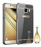Eiroo Mirror Samsung Galaxy C7 Metal Kenarlı Aynalı Siyah Rubber Kılıf