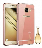 Eiroo Mirror Samsung Galaxy C7 Metal Kenarlı Aynalı Rose Gold Rubber Kılıf
