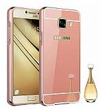 Eiroo Mirror Samsung Galaxy C7 Pro Metal Kenarlı Aynalı Rose Gold Rubber Kılıf