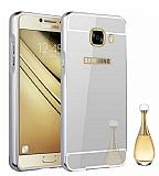 Eiroo Mirror Samsung Galaxy C7 Pro Metal Kenarlı Aynalı Silver Rubber Kılıf