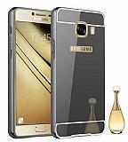 Eiroo Mirror Samsung Galaxy C7 Pro Metal Kenarlı Aynalı Siyah Rubber Kılıf