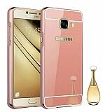 Eiroo Mirror Samsung Galaxy C9 Pro Metal Kenarlı Aynalı Rose Gold Rubber Kılıf