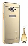 Eiroo Mirror Samsung Galaxy Core Prime Metal Kenarlı Aynalı Gold Rubber Kılıf