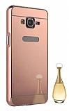 Eiroo Mirror Samsung Galaxy Core Prime Metal Kenarlı Aynalı Rose Gold Rubber Kılıf