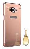 Eiroo Mirror Samsung Galaxy Grand Prime / Prime Plus Metal Kenarlı Aynalı Rose Gold Rubber Kılıf