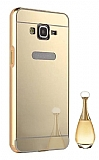 Eiroo Mirror Samsung Galaxy Grand Prime / Prime Plus Metal Kenarlı Aynalı Gold Rubber Kılıf