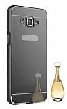 Eiroo Mirror Samsung Galaxy Grand Prime / Prime Plus Metal Kenarlı Aynalı Siyah Rubber Kılıf