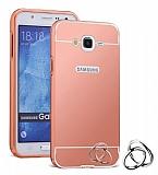Eiroo Mirror Samsung Galaxy J2 Metal Kenarlı Aynalı Rose Gold Rubber Kılıf
